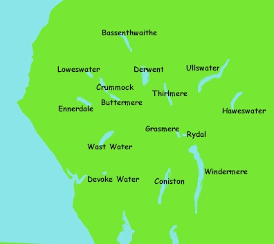 lake district lakes map Guide To The English Lake District lake district lakes map